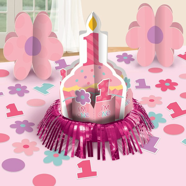 1st Birthday Table Ideas: 1st Birthday Girl Table Decorating Kit