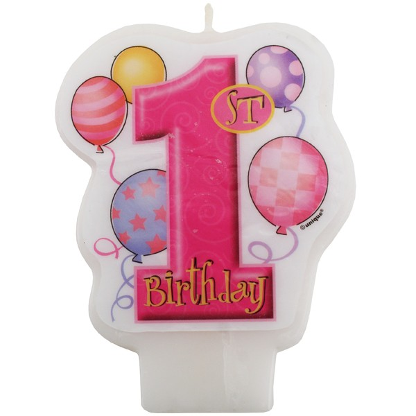 1st Birthday Girl Party Candle