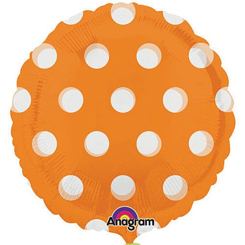 "Polka Dots Foil Balloon - 18"" (Orange)"
