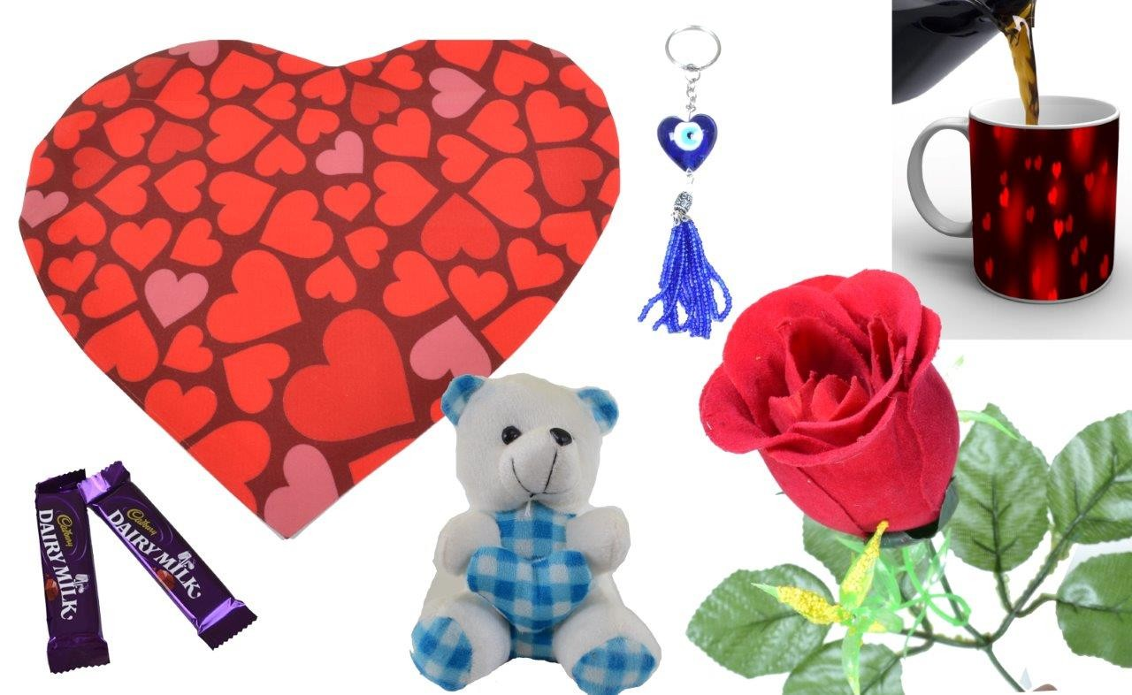 Red Little Heart Print Valentine Combo (Pack Of 7)