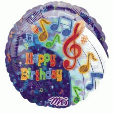 Musical Notes Prismatic Foil Balloon  - 18 inches