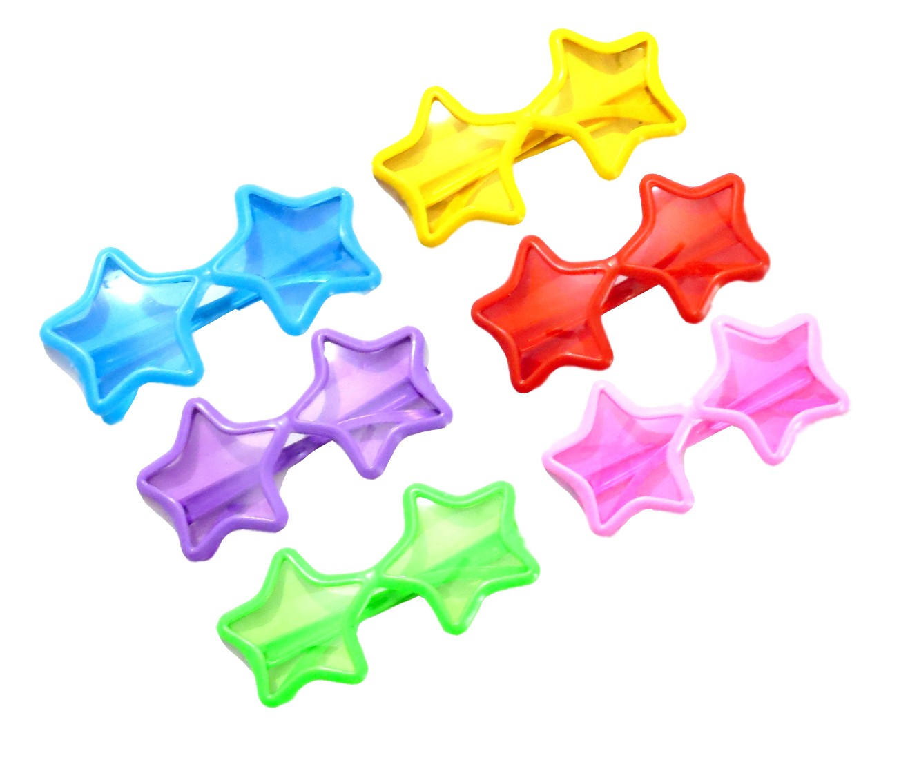 Star Shaped Glitter Party Novelty Glasses (Pack Of 6)