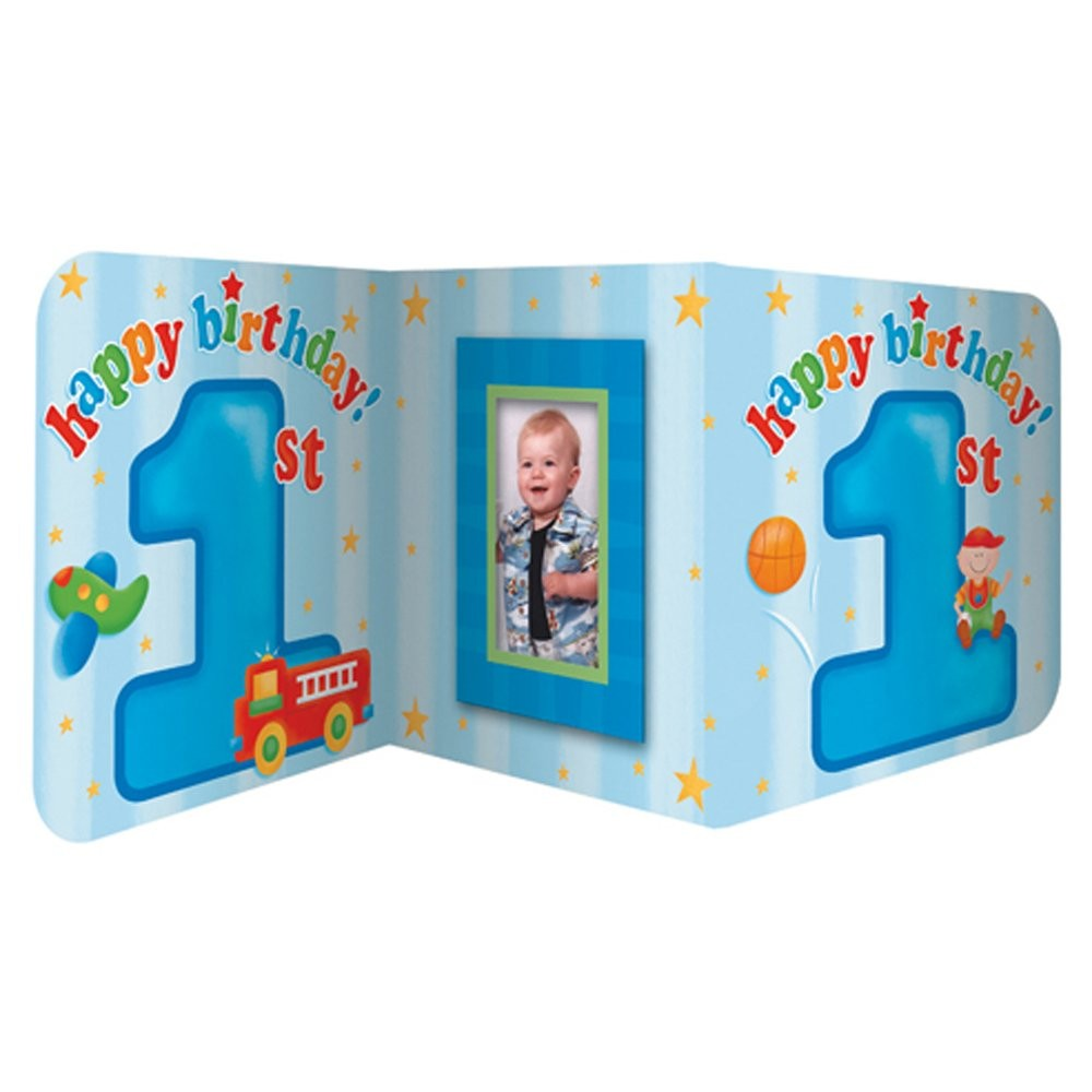 Fun At 1 Boy Photo Insert Centerpiece (Blue)