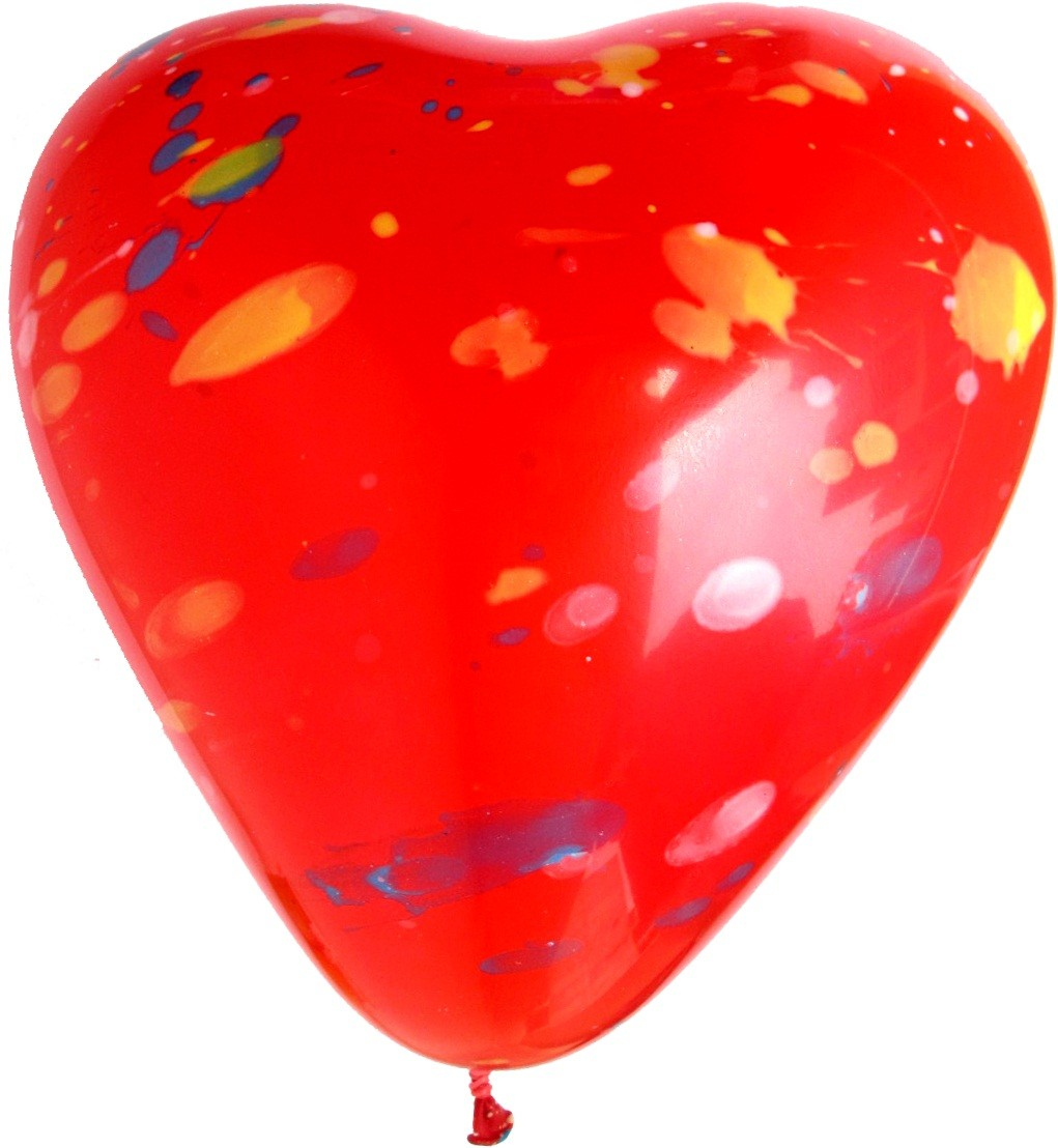 16 inch Printed Heart Shaped Red Latex Balloons (Pack of 10)