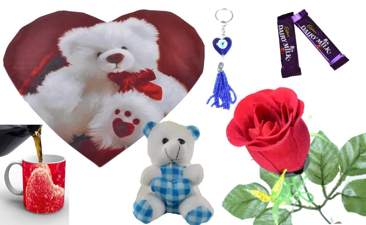 White Teddy With Heart Valentine Combo (Pack Of 7)
