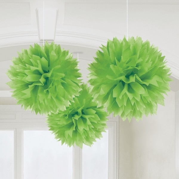 Caribbean Fluffy Decorations 16in - Pack of 3 (Kiwi Green)