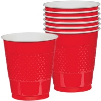 Solid Red Plastic Cups (Pack of 20)
