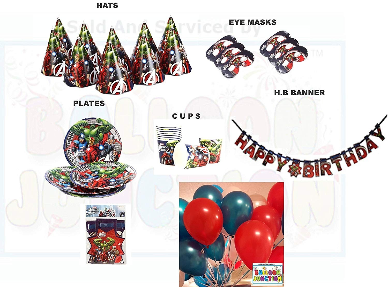 Disney Avengers Theme Birthday Party Supplies 6 Different Items 61 Pcs With Balloons