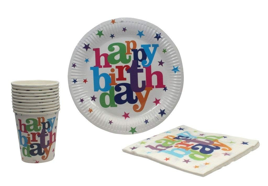 Birthday Party Supplies Set Plates, Cup and Napkin -Set of 10