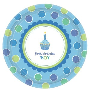 1st Birthday Cupcake Boy Party Paper Plates (Pack Of 18)
