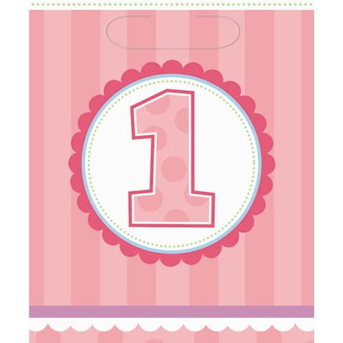 1st Birthday Cupcake Girl Party Loot Bags -Pack of 8