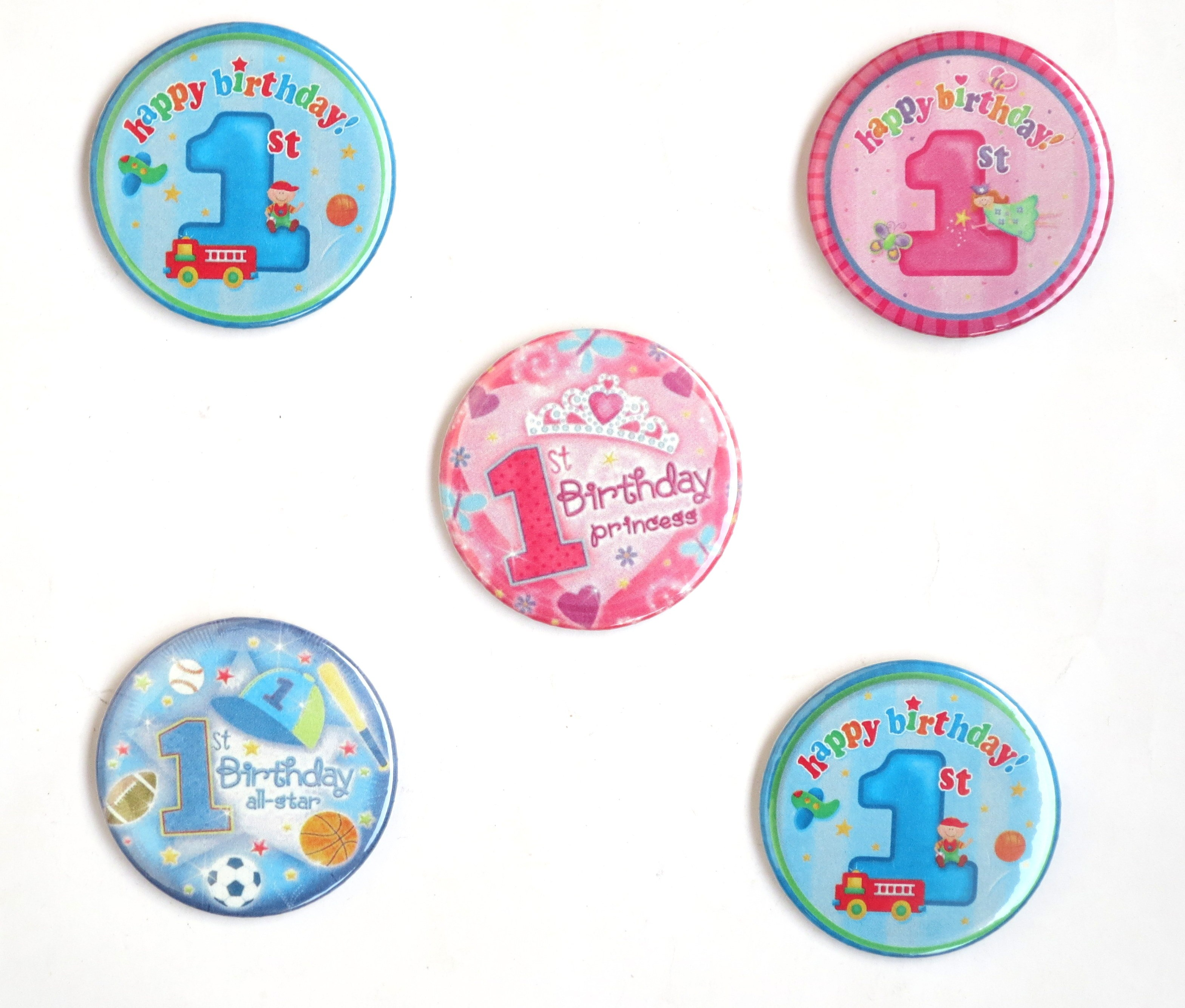 1st Birthday Pin Badges ( Pack of 5)