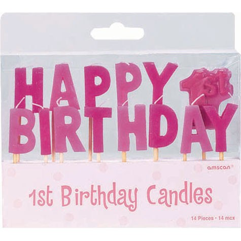 1st Birthday - Baby Girl - Toothpick Candle