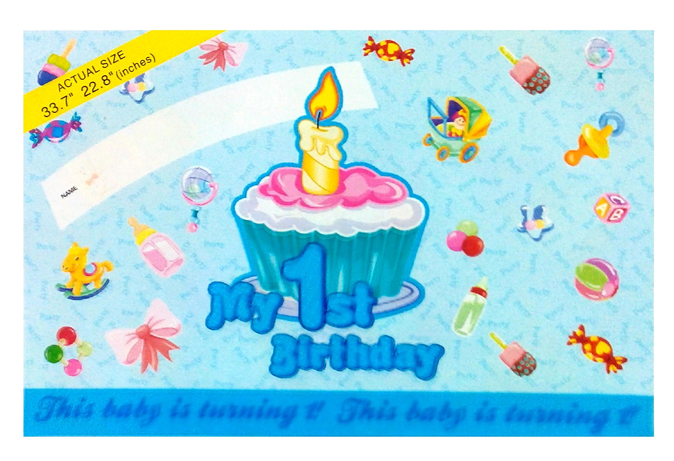 1st Birthday Poster - Large (Blue)