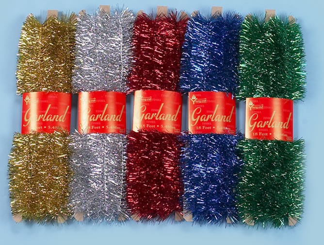 Tinsel Garland Assorted Color (Pack Of 5)