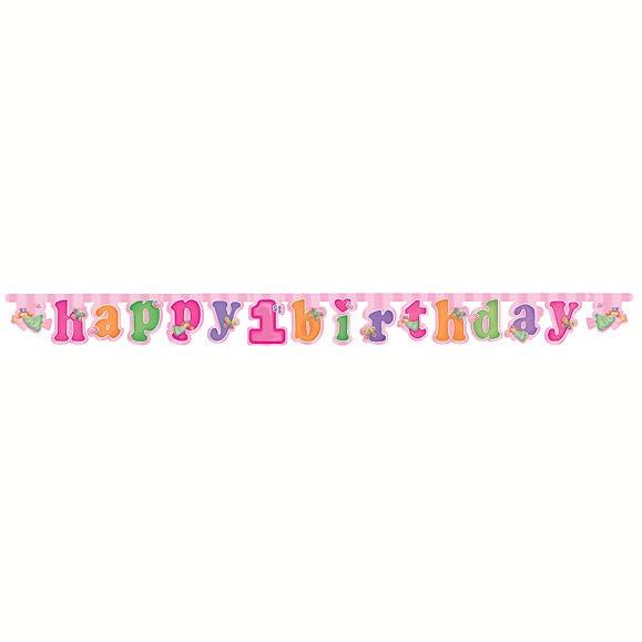 Fun At 1 Girl Happy Birthday Letter Banner