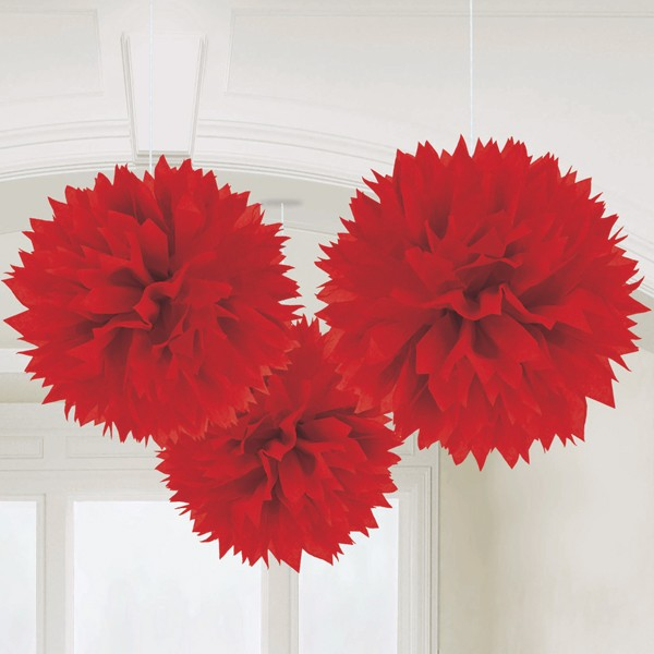 Caribbean Fluffy Decorations 16in-Pack of 3 (Red)