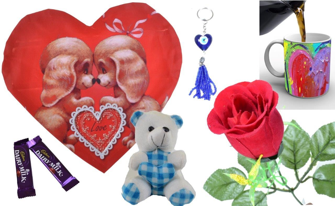 Red Heart With Cute Teddy Valentine Combo (Pack Of 7)