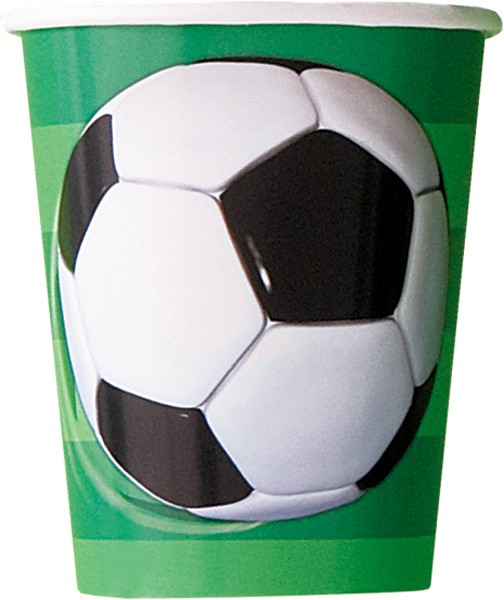 3D Soccer Party Paper Cups -  Pack of 8