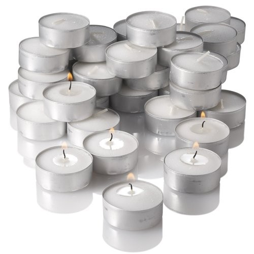 Tea Light Candle With Metal Base (White) - Pack of 50