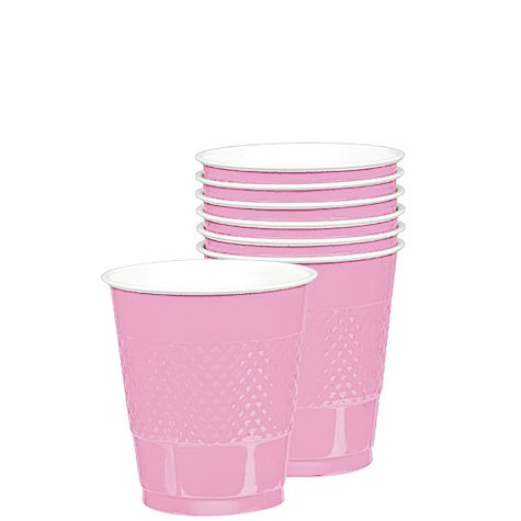 Solid Pink Plastic Cups (Pack Of 20)