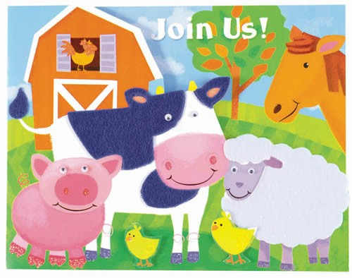 Farm Animal Invitation Cards With Envelopes (Pack Of 8)