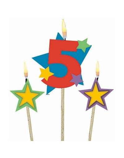 Number 5 Candle and Stars on Stick