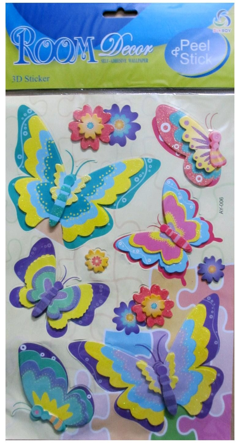 6 Butterflies With Flowers Wall Decor
