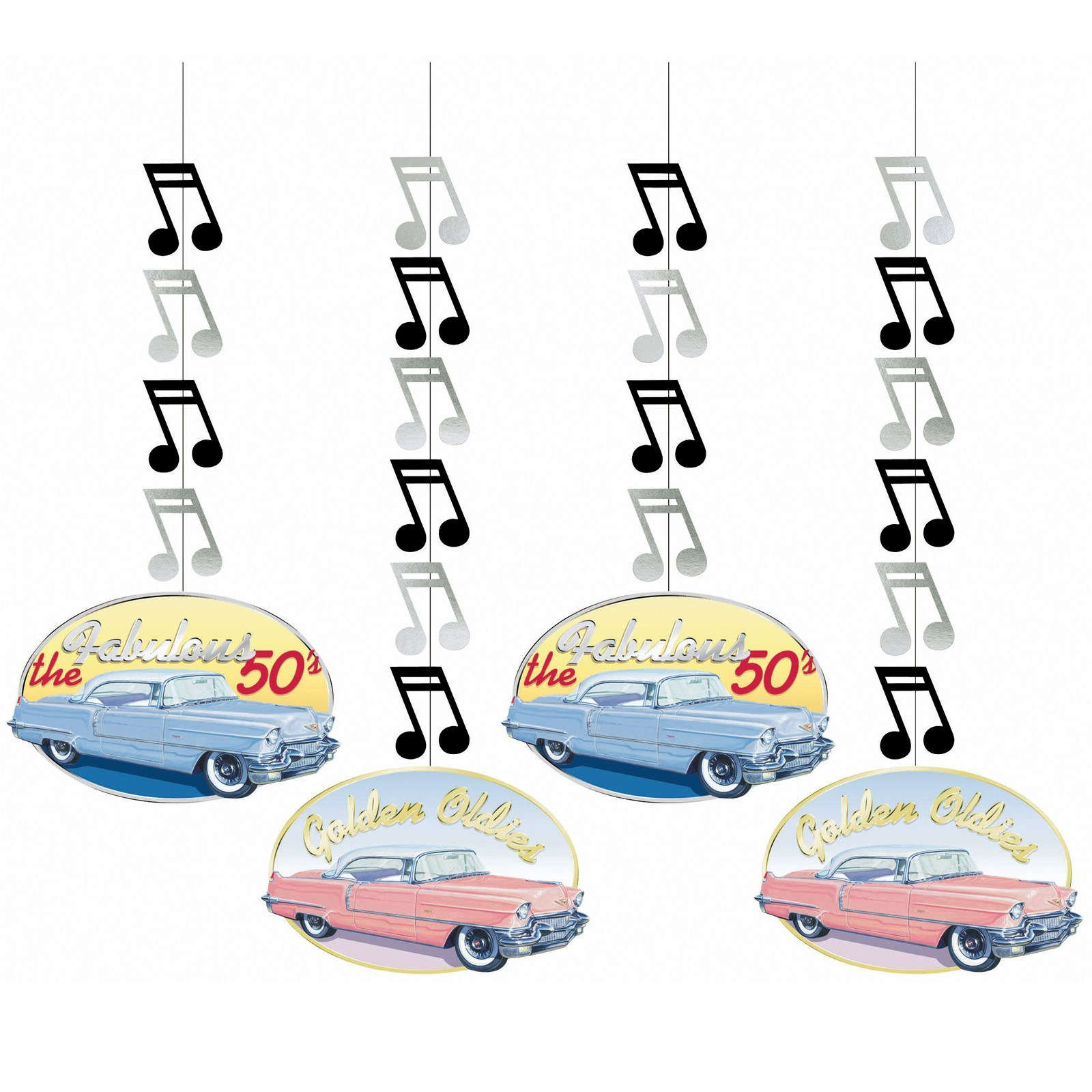 Rock and Roll Hanging Cutouts - 4ct