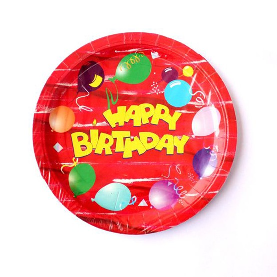 Happy Birthday Paper Plates - Pack of 10 (Red)