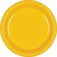 Solid Yellow Sunshine Plastic Dinner Plates ( Pack Of 20)