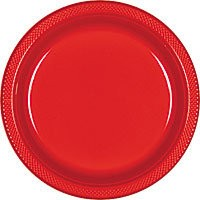 Solid Red Plastic Dinner Plates (Pack Of 20)