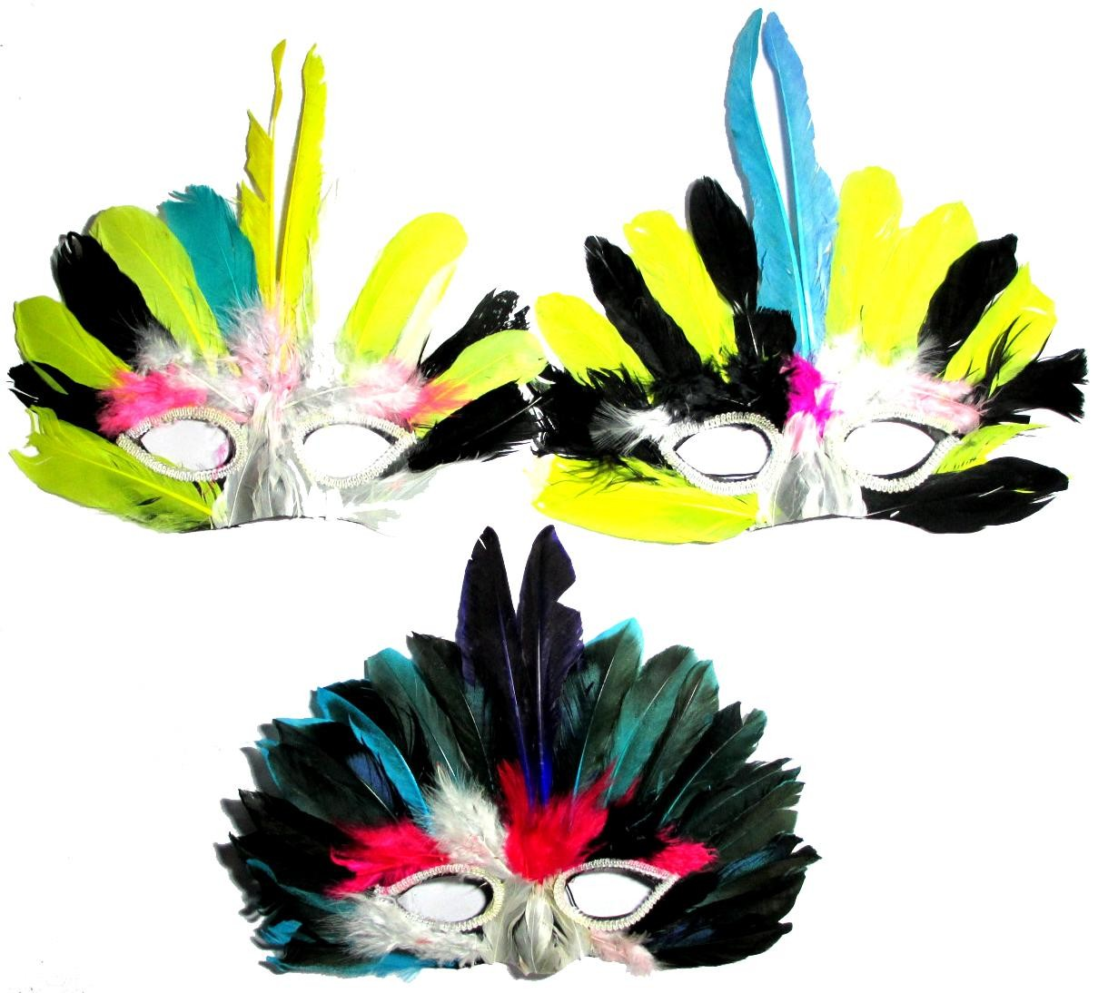 Assorted Multicolored Eye And Nose Feather Mask ( Set Of 3)