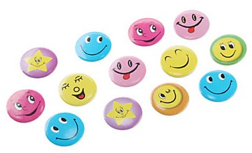 Assorted Smiley Face Emoticons Pin Badges (Pack of 5)