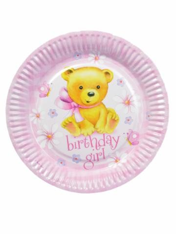 Birthday Girl Party Paper Plates -Pack of 8