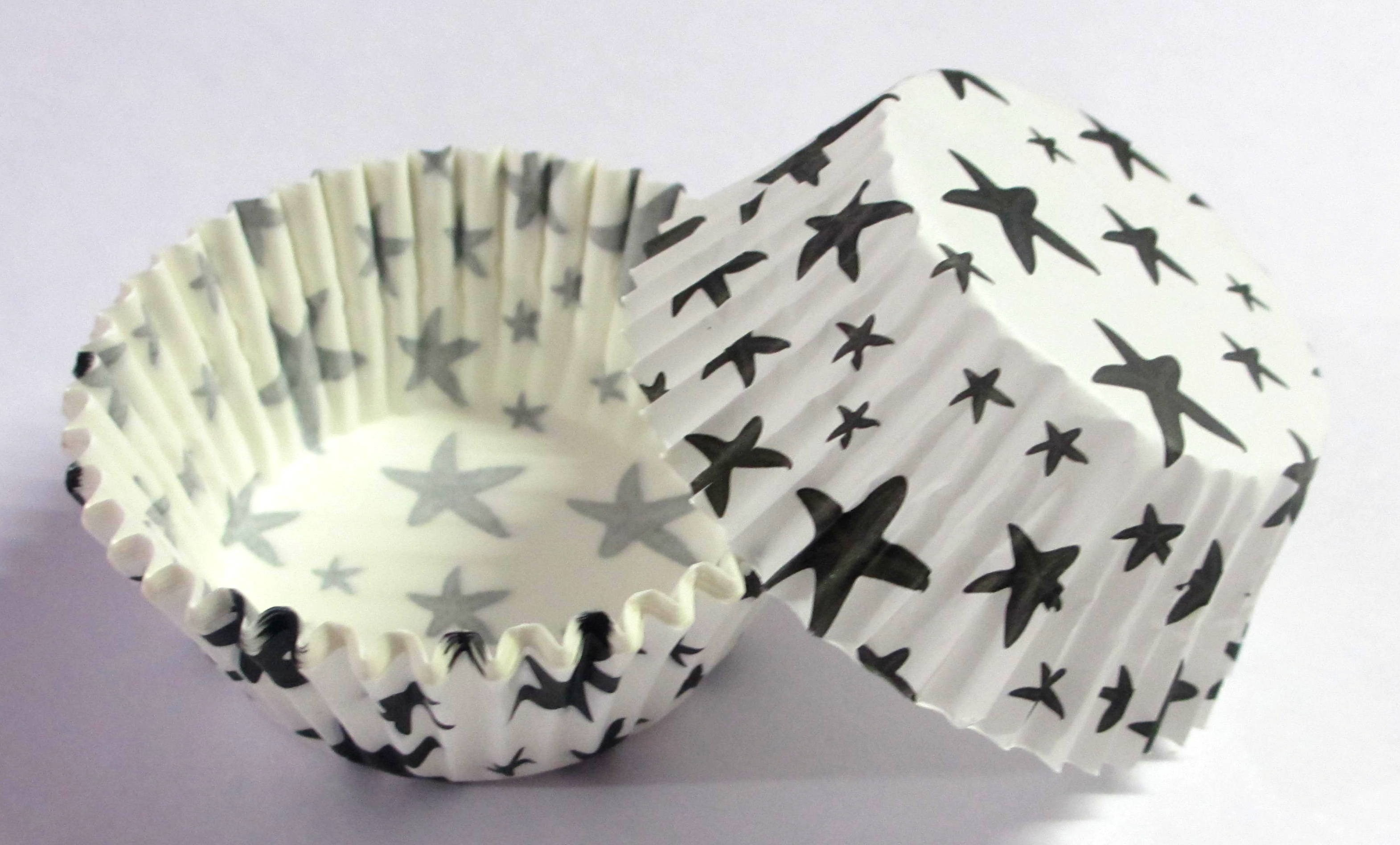 Star Print Cupcake Baking Cups (Pack Of 100) - Black