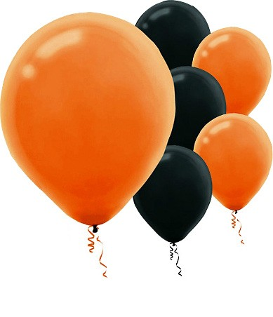 Orange & Black Halloween Latex Balloons - Set of 20