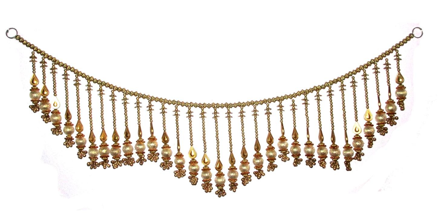 Gold And Red Bandanwar With Bells