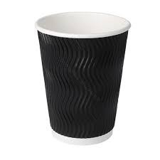 Black Disposable Rippled Paper Cups (Pack of 10)