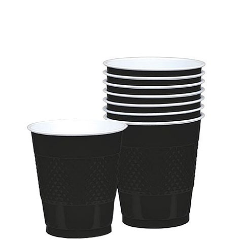 Solid Black Plastic Cups (Pack Of 20)