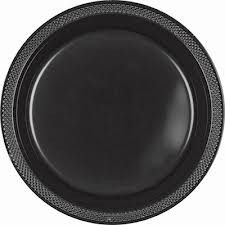 Solid Black Plastic Dinner Plates (Pack Of 20)