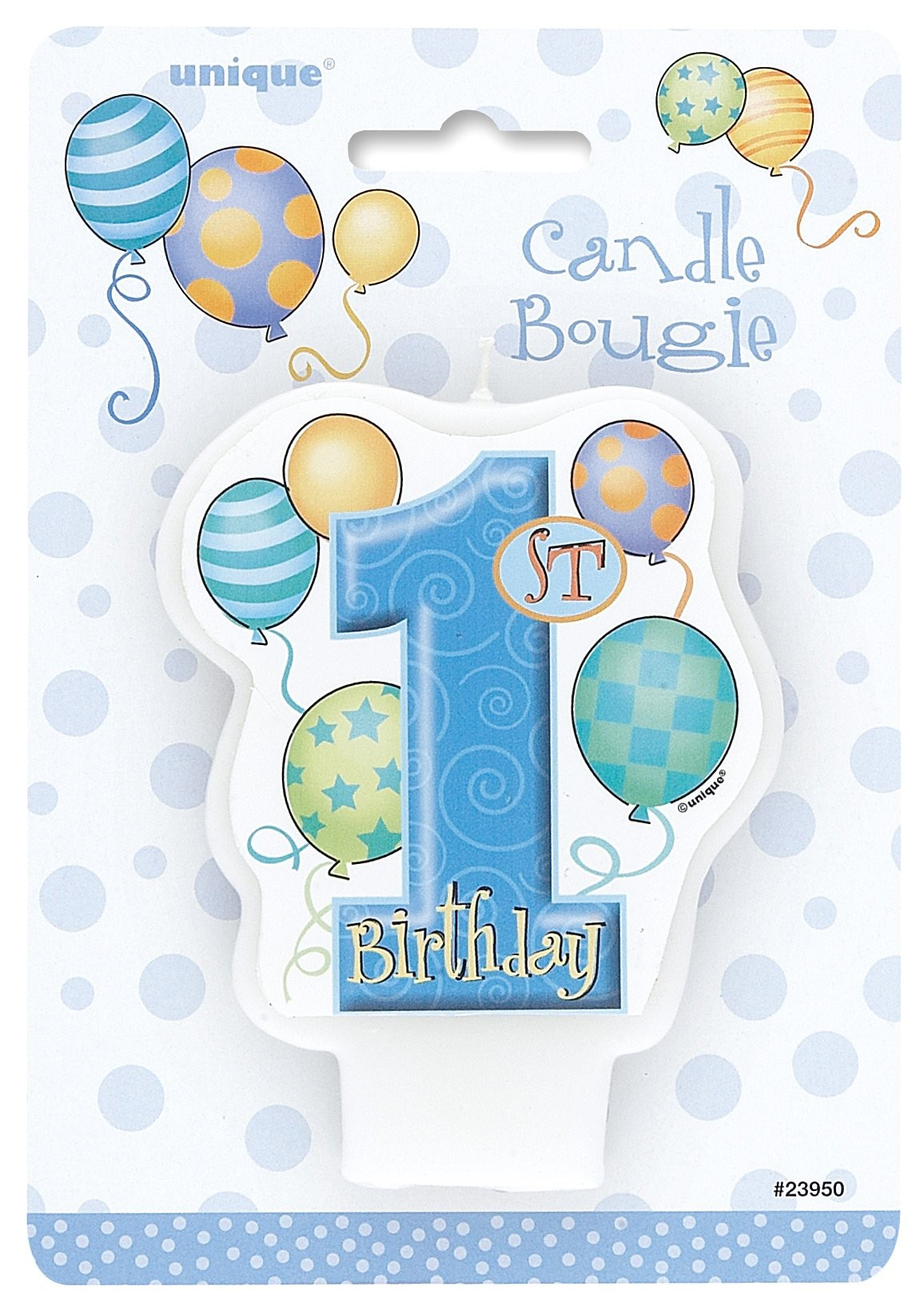 1st Birthday Boy Party Candle