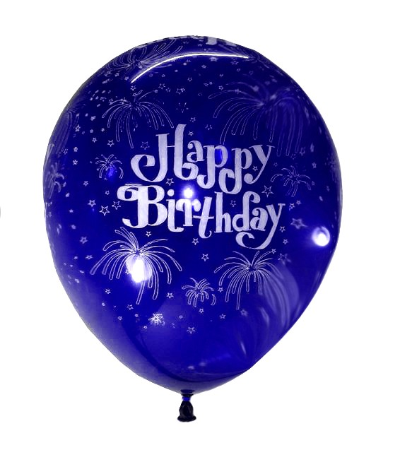 Happy B'day With Fireworks Latex Balloons (Blue) - Pack of 5