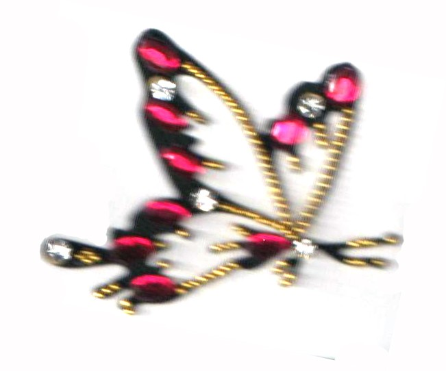 Crystal Body Tattoo (Magenta & Golden Butterfly)