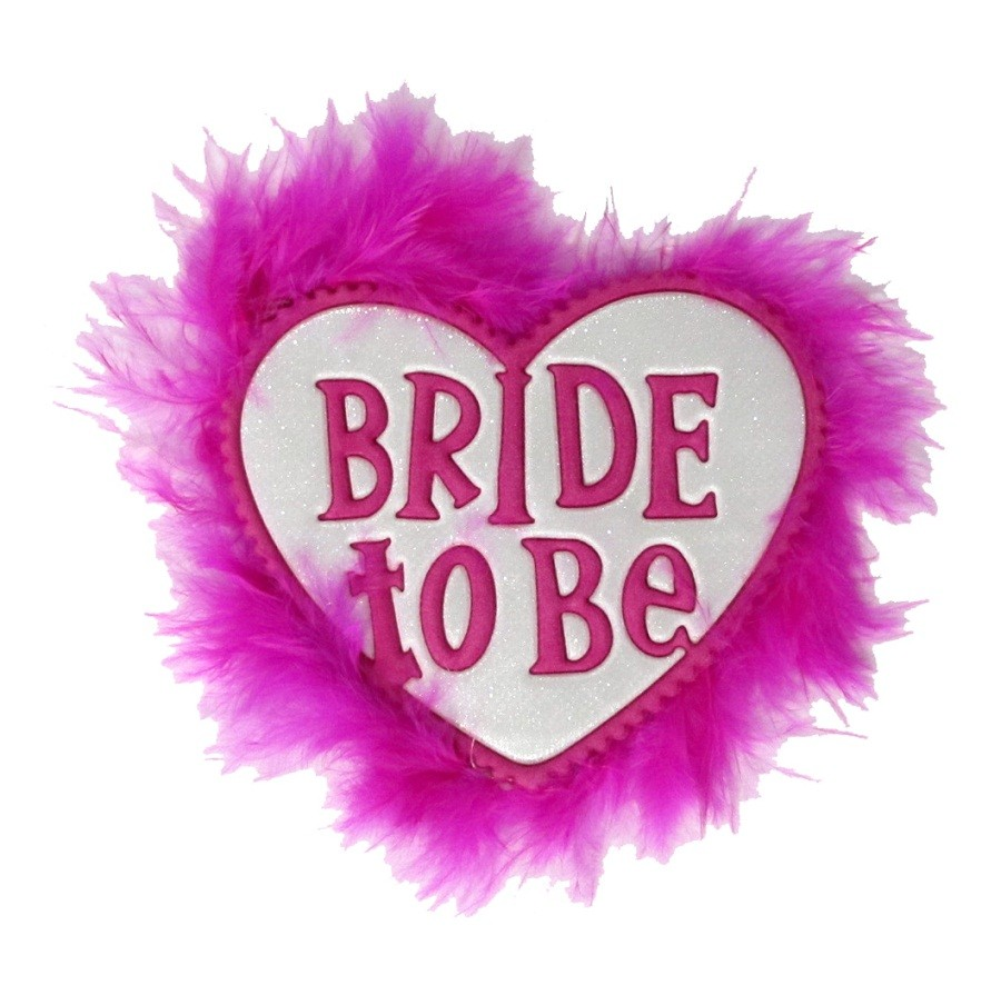 Heart Shaped Pink Bride To Badges
