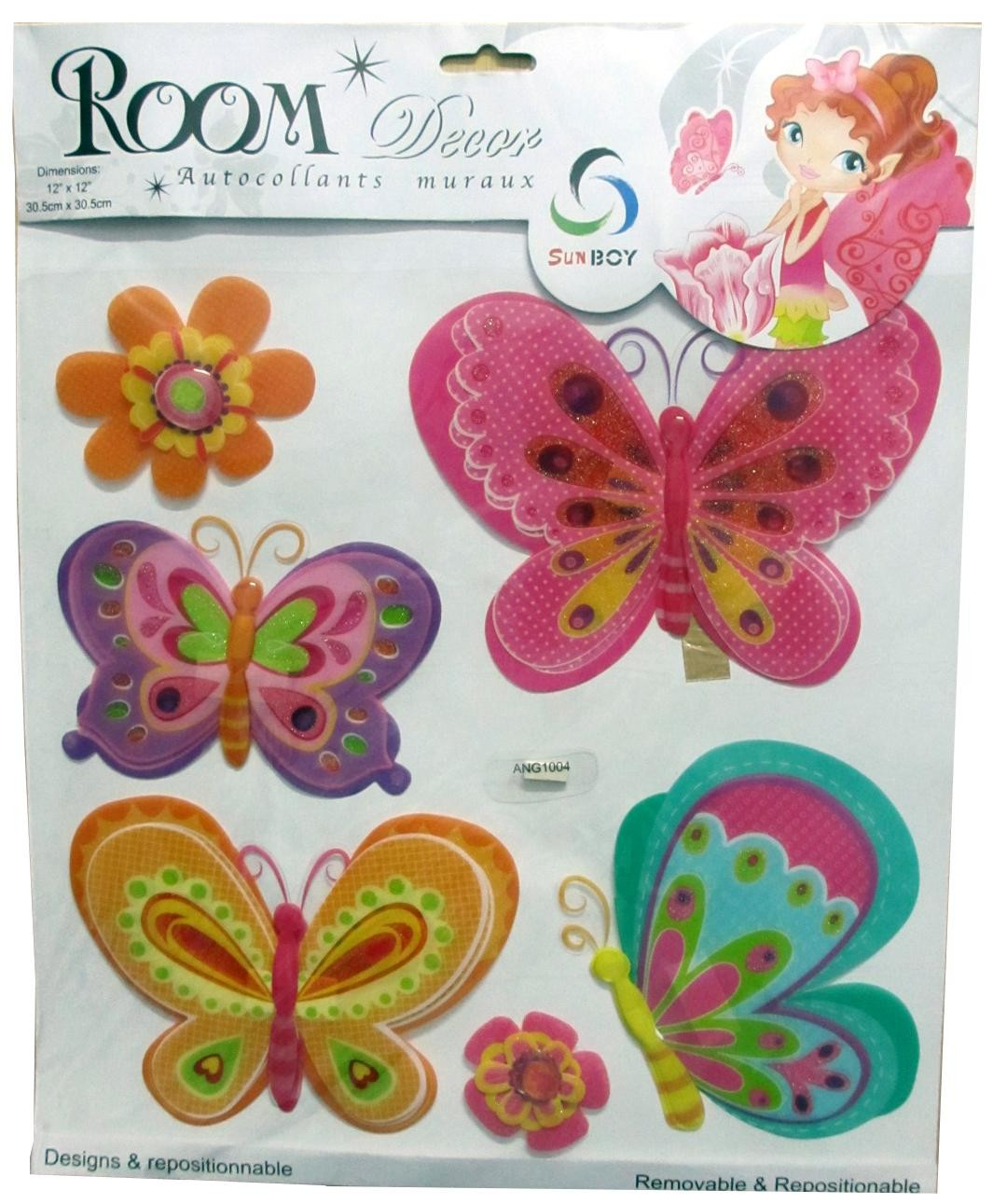 Butterflies With Flowers Wall Decor