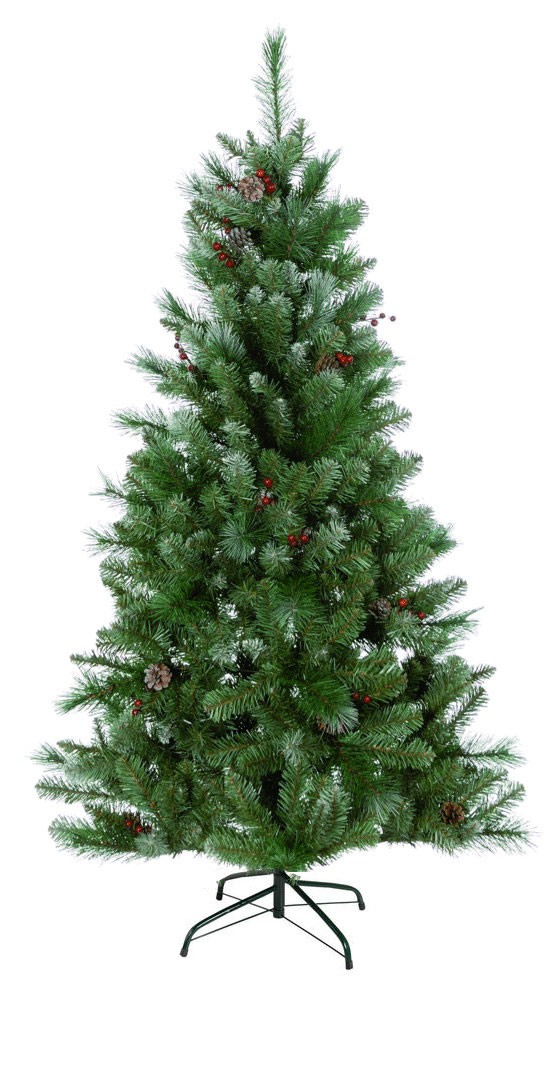 Snow Tipped Pine Christmas Tree With Lights & Ornaments - Easy To Assemble (6 Feet)