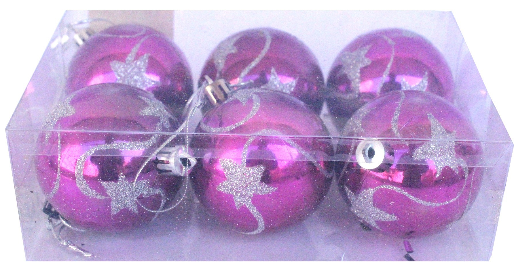Decorations Balls With Design - Magenta  (Pack of 6)