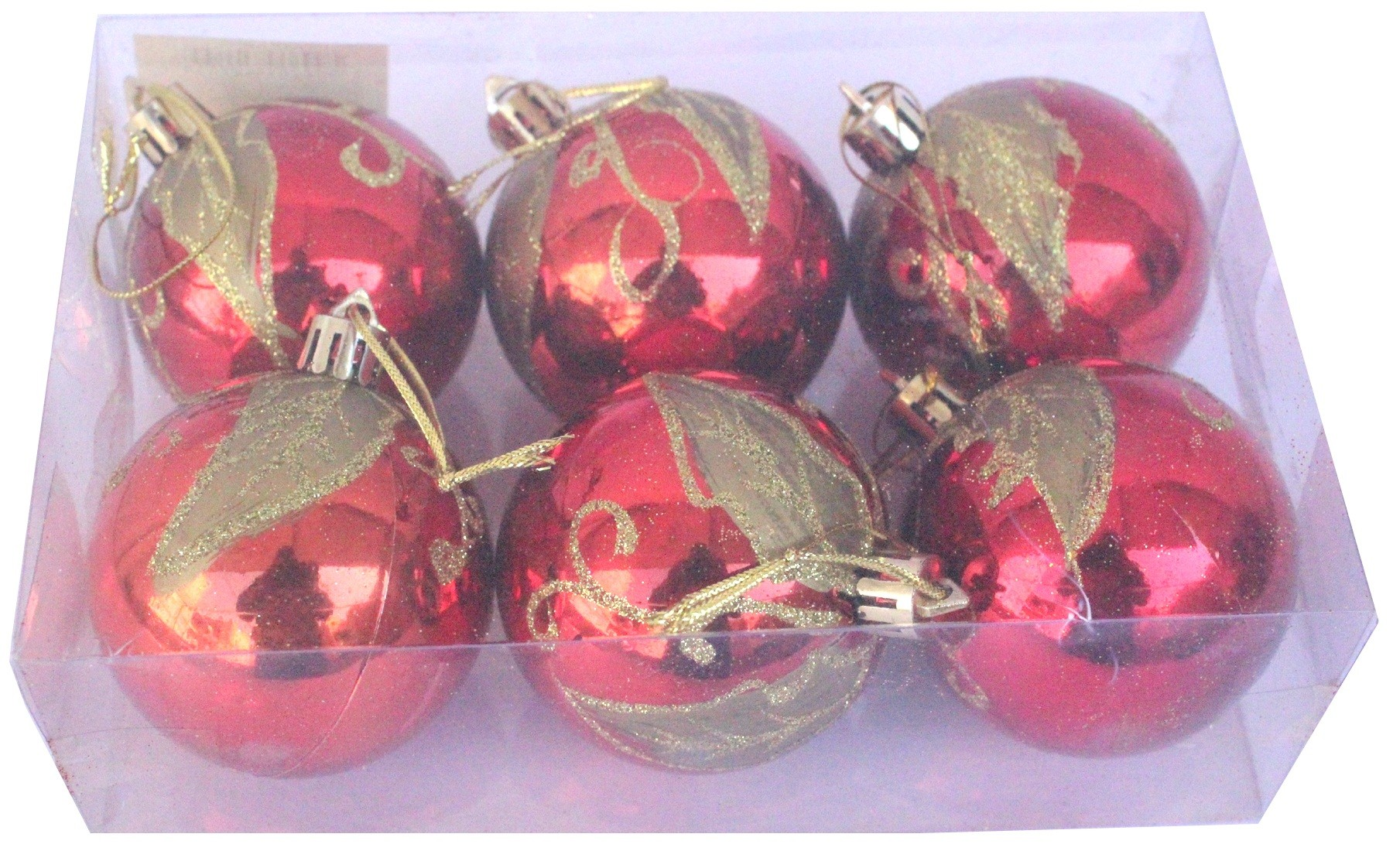 Decorations Balls With Design - Red - (Pack of 6)