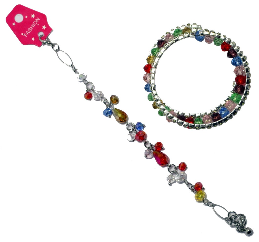 Colorful Crystal Bracelet & Anklet Set (Set Of 2)